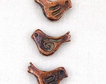 Copper Bronze Tone Little Bird Beads--13mm x 9mm--5 Pcs.   38-BZ298