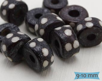 Black White Dotted Bone Tube Beads--10 Pcs. | 20-BN322-10