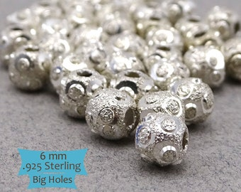 Brushed Finished Big Holes Sterling Silver Beads--1 Pc. | 45-381S-1