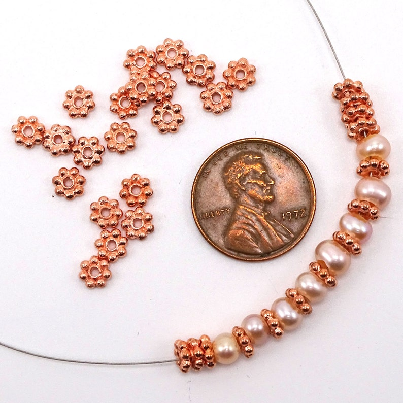 Small Bright Copper Spacer Beads--5mm--10g 50 Pcs Approx | 30-1205