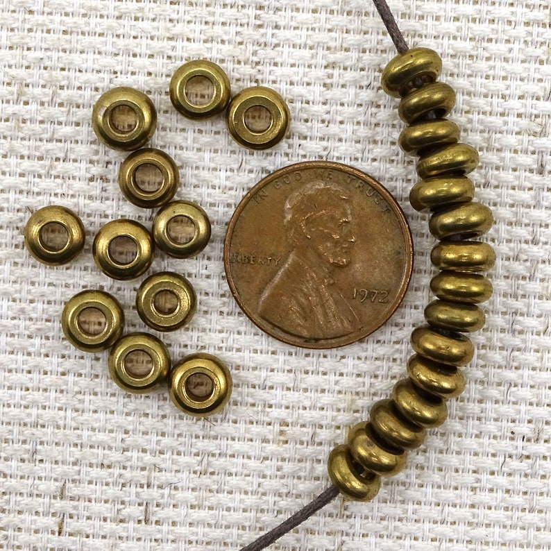 Small Oxidized Brass Spacer Beads Big Holes--6mm--28g 1 oz. 60 Pcs 26-AB516 Approx