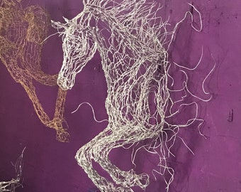 """27"""" Cloud Horse Wire Sculpture Leaps out of Wall"""