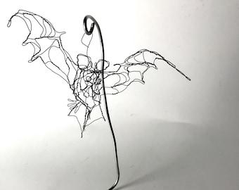 "Wire Sculpture Bat 6"" Wire Ornament with Stand by Master Wire Sculptor Elizabeth Berrien"