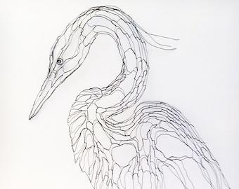 """Wire Sculpture Heron, Egret 2D 27"""" Wall Art by Elizabeth Berrien"""