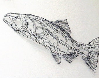 King Salmon 4ft Wire Sculpture 2D Wall Art By Elizabeth Berrien Chinook Coho Fish Trout Nature Outdors