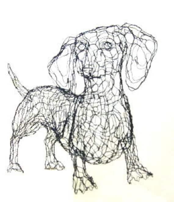 Perro salchicha 3D escultura de alambre por Elizabeth Berrien | Etsy