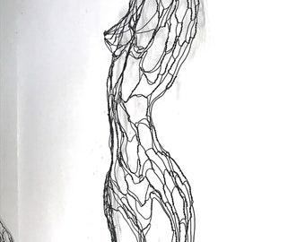 """Curvy Female Nude Torso 42""""h Wire Sculpture (bas relief) by Elizabeth Berrien"""