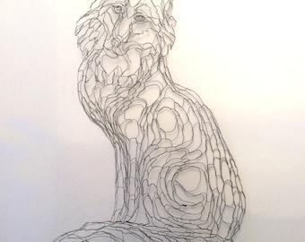 Gray Fox 2D Wire Wall Art Sculpture by Elizabeth Berrien