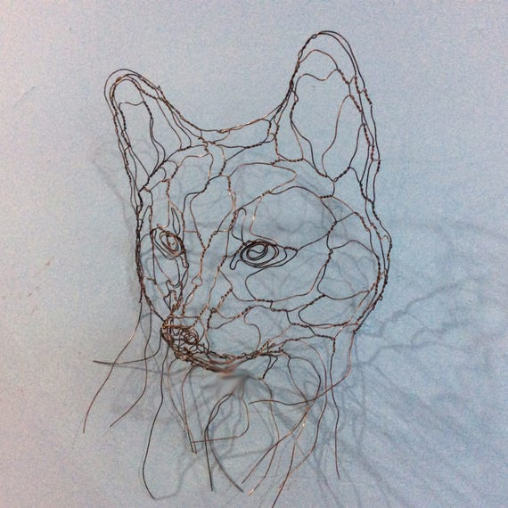 Fox Cub Mask Wire Wall Art Sculpture by Elizabeth Berrien | Etsy