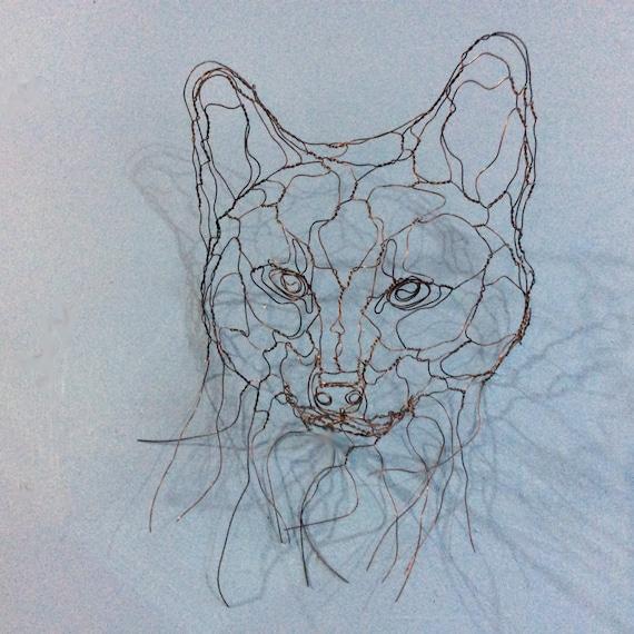 Fox Cub Mask Wire Wall Art Sculpture by Elizabeth Berrien | Etsy
