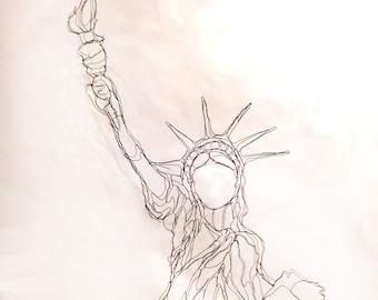 "Lady Liberty, 36"" Wire Statue of Liberty, 2D Wall Art Sculpture by Elizabeth Berrien"