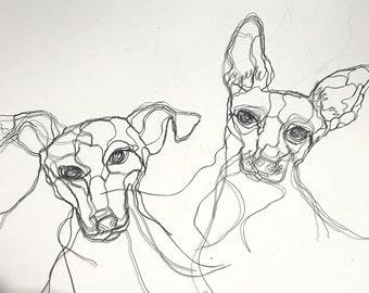 Pound Puppy Wire Sculptures 2D by Elizabeth Berrien
