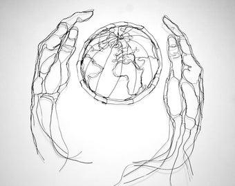 """Healing The Earth, 36"""" 2D Wire Sculpture Wall Art by Elizabeth Berrien"""