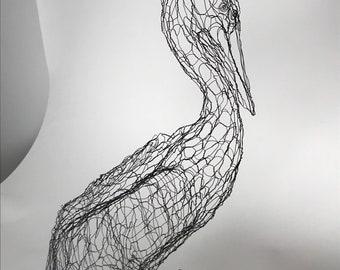 "Brown Pelican 18"" Wire Sculpture by Elizabeth Berrien"