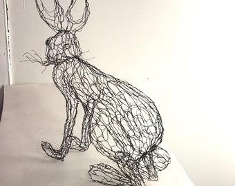 Hare, Jack Rabbit, Bunny wire sculpture by Elizabeth Berrien