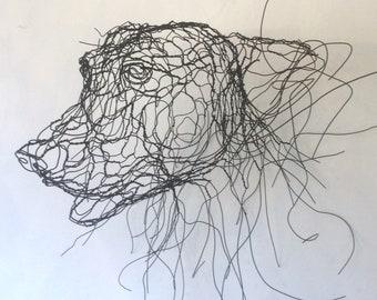 WIre Sculpture Dog Mask - Large 3D by Elizabeth Berrien