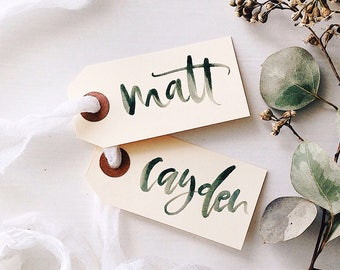 Calligraphy Gift Tag, Hand Lettered Gift Tag, Wedding Place Card, Wedding Gift Tag, Holiday Gift Tag, Christmas Gift Tag