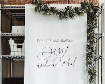 Wedding Fabric Sign, Wedding Ceremony Backdrop
