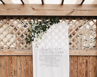 Custom Fabric Calligraphy Banner, Wedding Calligraphy Backdrop, Fabric Seating Chart, Wall Tapestry