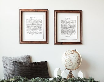 CALLIGRAPHY VOWS Set of 2 Calligraphy Wedding Vows, Hand Lettered Wedding Vows, Custom Vow Prints, Wedding Vow Renewal, Valentine's Day Gift