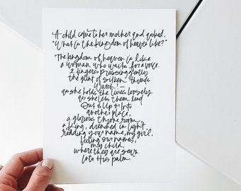 PHYSICAL CUSTOM PRINT Hand Lettered Poem, Calligraphy Print, Hand Lettered Artwork
