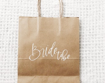 Kraft Paper Gift Bag, Custom Calligraphy Gift Bag
