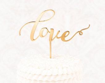 Custom Gold Love Wedding Cake Topper, Calligraphy Cake Topper, Laser Cut Cake Topper, Gold Love Cake Topper
