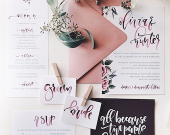 Burgundy Custom Floral Watercolor Calligraphy Wedding Suite