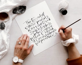 PHYSICAL CUSTOM PRINT: Hand Lettered Watercolor Print, Calligraphy Watercolor Print