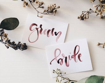 Custom Watercolor Calligraphy Flat Place Cards, Calligraphy Escort Cards
