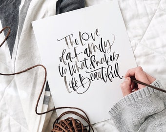 Hand Lettered Watercolor Print, Calligraphy Print, Calligraphy Watercolor Canvas, Custom Calligraphy Verse, Calligraph