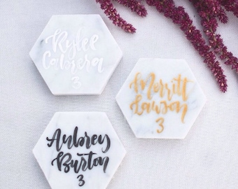 White Marble Escort Tiles, Marble Place Cards, White Marble Calligraphy Tiles