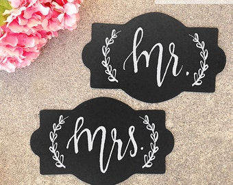 SALE: Wedding Chalkboard Sign, Mr and Mrs Chalkboard Sign, Wedding Chair Sign