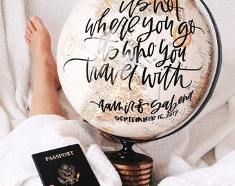 Calligraphy Globe Quote, Hand Lettered Globe, Globe Decor
