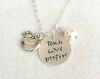 Sterling Silver Teach Love Inspire Necklace, Teacher Necklace, Teacher Gift, Apple Charm, Teacher Appreciation, Graduation Necklace