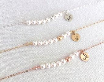 Personalized Pearl Bracelet, Bridesmaid Bracelet, Rose Gold Bead, Gold Bead, Silver Bead, Flower Girl, Little Girl Gift, Bridesmaid Gift