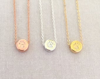 Personalized Pet Necklace, Paw Necklace, Pet Memorial Gift, Dog Lover Gift, Dog Mom, Cat Lover Necklace, Crazy Cat Lady, Rose Gold Paw