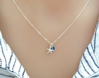 Sterling Silver Starfish Necklace, Personalized Starfish, Gold Starfish, Beach Wedding, Nautical Jewelry, Bridesmaid Gift, Beach Necklace