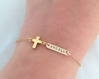 Personalised Dainty Cross Bracelet, Baby Baptism Jewelry, Christening Gift, Gift for Goddaughter, First Communion Gift, Custom Name Jewelry
