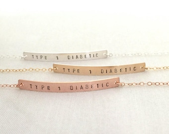 Type 1 Diabetes Bracelet, Rose Gold Medical ID Bracelet, Hand Stamped Bar Jewelry, Type 1 Diabetic, Medical Alert, Slim Bar Bracelet