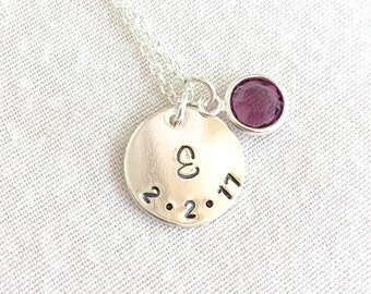 Hand Stamped Initial Date Necklace, Bridesmaid Necklace, Birthday Gift, Silver Disc, Gold Disc, Birthstone Necklace, Sister Gift