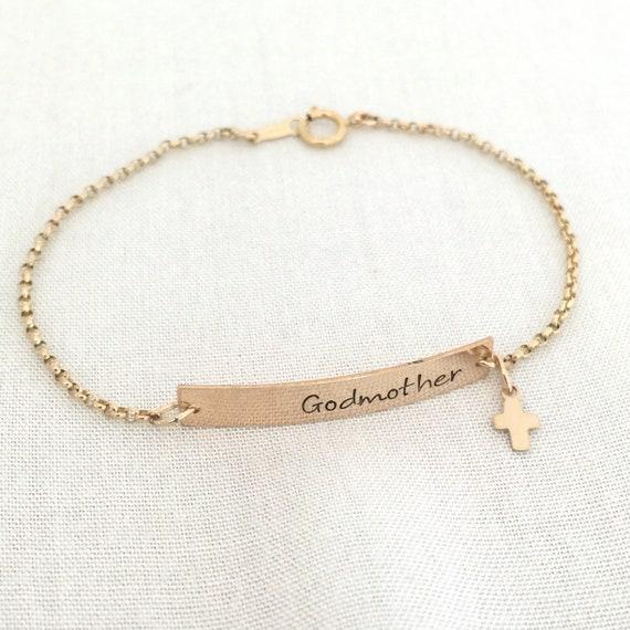 Benutzerdefinierte Patin Armband Baby Junge Taufe Geschenk Babymädchen Kreuz Schmuck Erste Kommuniongeschenk Armband Geschenk Taufe Stampedeve