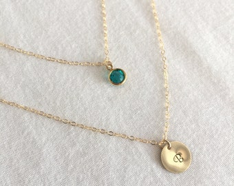 Set of Disc Birthstone Necklace, Sterling Silver Disc, Personalized Disc Necklace, Coin Necklace, Birthday Gift, Sister Necklace, Gold Disc