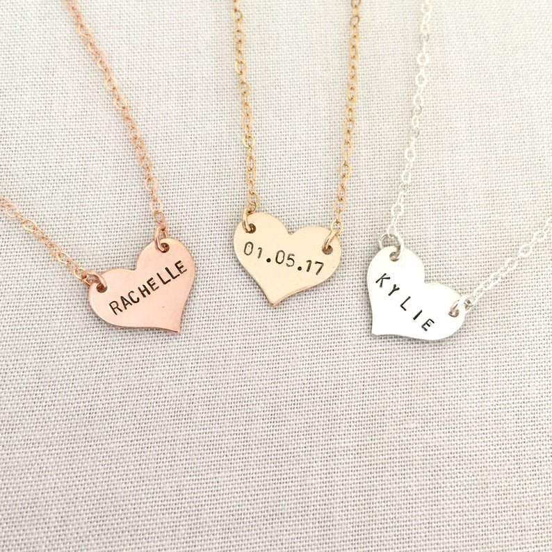 a88d676f2 Rose Gold Heart Name Necklace Baby Necklace New Mom Jewelry | Etsy