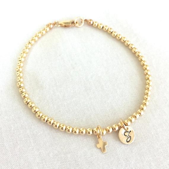 14k Gold Gefüllt Baby Taufe Armband Erste Kommuniongeschenk Zierliche Kreuz Konfirmation Taufe Armband Gold Kinderarmband