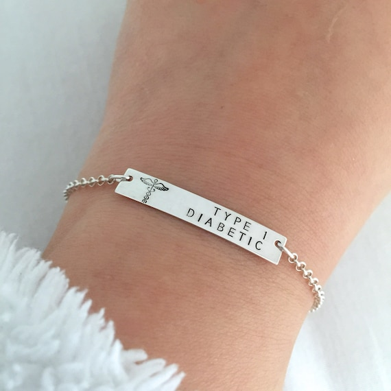 Medical Alert Bracelet >> Personalised Medical Alert Bracelet Type 1 Diabetic Allergy Bracelet Medical Id Jewelry Penicillin Allergy Nut Allergy One Side Only