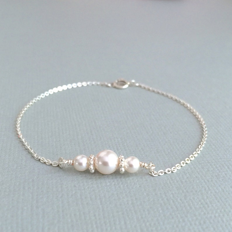 ac81d5744 White Pearl Bracelet Silver Pearl Bracelet Bridesmaid Pearl | Etsy