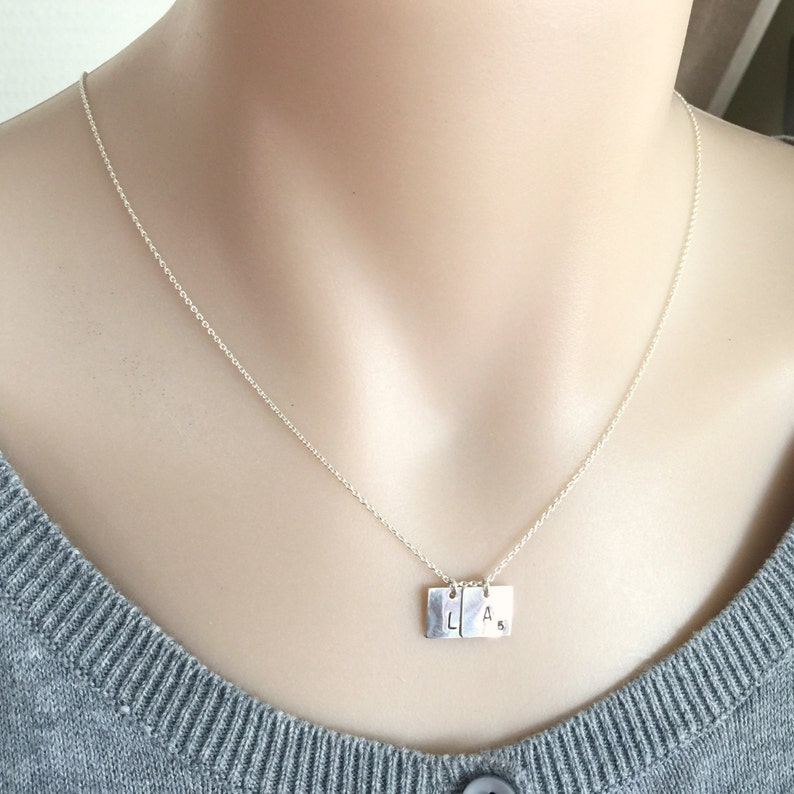 Customized Necklace Scrabble Pendant Initial Disc Square Disc Necklace Sterling Silver Scrabble Necklace Couple Necklace Mom Necklace