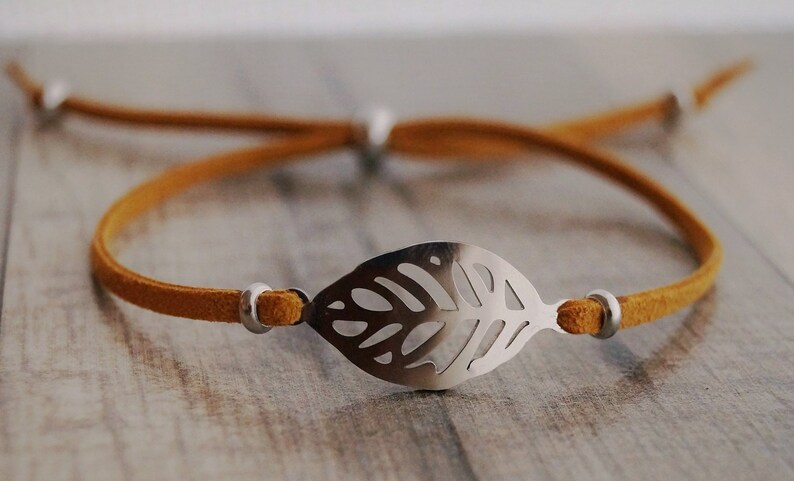 Tree leaf bracelet delicate balance caramel faux suede