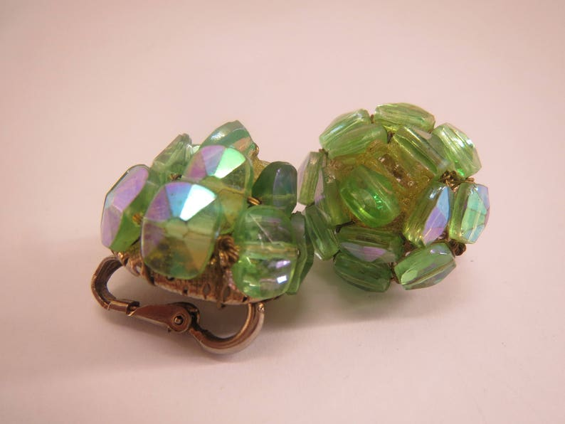 Vogue signed green beaded vintage clip on earrings
